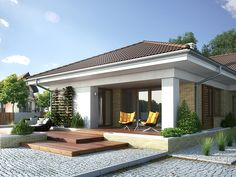 Aksamit 4 on Behance Modern Bungalow Exterior, Classic House Exterior, Modern Bungalow House, Flat Roof House, Facade House, House Front, House Layout Plans, House Layouts, Small Villa