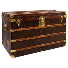 Antique 19th Century Louis Vuitton Damier Pattern Haute Courier or Steamer Trunk | From a unique collection of antique and modern trunks and luggage at https://www.1stdibs.com/furniture/more-furniture-collectibles/trunks-luggage/