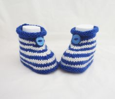 Babies Booties, Sailor Booties, White and Blue Cute Bootis £6.50