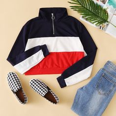 To find out about the Zipper Front Color Block Sweatshirt at SHEIN, part of our latest Sweatshirts ready to shop online today! Modest Fashion, Teen Fashion, Fashion Outfits, Womens Fashion, Fashion Trends, Simply Fashion, Japan Fashion, Winter Outfits, Casual Outfits