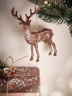 Add a touch of opulence to your Christmas with our majestic copper deer decoration. Complete with impressive antlers, this standing metallic deer comes complete with a loop for hanging from your Christmas tree. Team this retro style decoration with our Six Copper Glass Stars for a truly opulent festive display.