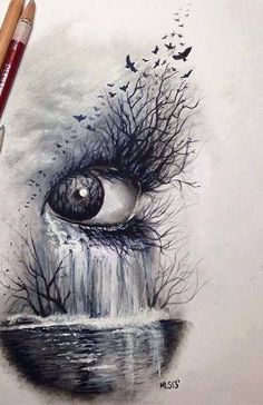 Dark nature, eye # art # sketch of crayons: - Top 99 Pencil Drawings Eye Art, Eye Drawing, Sketches, Art Drawings, Drawings, Amazing Art, Art, Beautiful Art, Cool Drawings