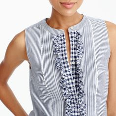 Striped top with gingham bib