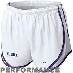 Nike LSU Tigers Ladies Tempo Performance Shorts - White