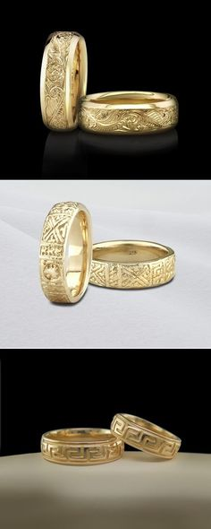 Patterned or Engraved Wedding Bands are attractive and great for daily wear. The pattern helps to mask scuffs or scratches that can occur over time.