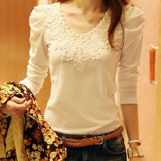 Fashion Women Lady Casual Blouse Slim Lace Long Sleeves Shirt Losse Tops T-Shirt