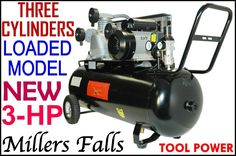 AIR COMPRESSOR 3.0-hp, 100-L, NEW, 3-CYL=Cast Iron