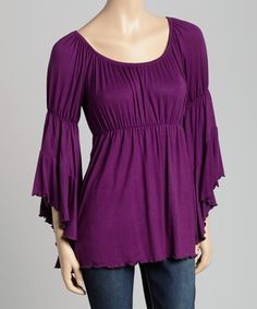 Take a look at this Eggplant Bell-Sleeve Peasant Top on zulily today!