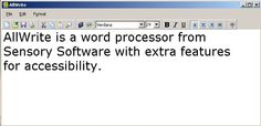 AllWrite is an accessible word processor that features many of the tools you find in popular word processors, including changing fonts, inserting pictures, spell-checking and printing.
