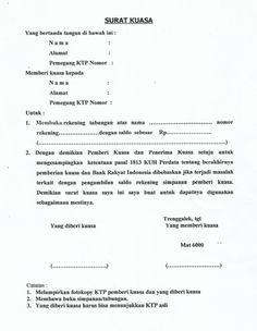Format Surat Kuasa pengambilan tabungan BRI