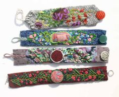 4 fabric cuffs - by Backwoods Creations (embroidery) Fabric Art, Fabric Crafts, Sewing Crafts, Jewelry Crafts, Jewelry Art, Handmade Jewelry, Textile Jewelry, Fabric Jewelry, Fabric Bracelets