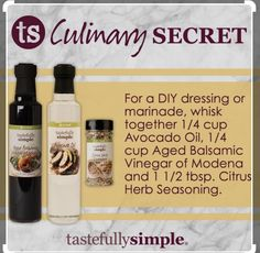 Freshen up your dressing! Three simple ingredients come together to make salads pop with flavor. Tastefully Simple Recipes, Simple Website, Easy Entertaining, Mixed Drinks, Recipe Using, New Recipes, Easy Meals, Stuffed Peppers, Balsamic Vinegar Of Modena