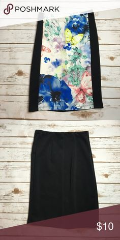 Forever 21 butterfly floral pencil skirt This forever 21 pencil skirt has a bright front with lots of butterflies and flowers. The back and sides of  front are solid black. Made of a stretchy material. I ❤️ offers! Forever 21 Skirts Pencil