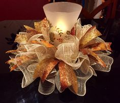 Fall/Autumn Deco Mesh Centerpiece/Candle Holder in Tan/Gold in Home & Garden, Holiday & Seasonal Décor, Easter & Spring Autumn Crafts, Thanksgiving Crafts, Thanksgiving Decorations, Holiday Crafts, Christmas Decorations, Fall Deco Mesh, Deco Mesh Wreaths, Holiday Wreaths, Winter Wreaths