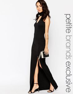 De lækreste True Decadence Petite High Neck Plunge Maxi Dress - Black True Decadence Petite Kjoler til Damer i behageligt materiale