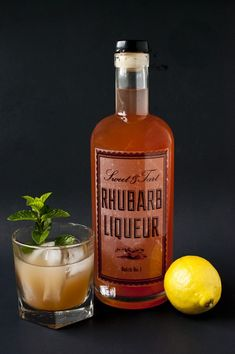 Make your own DIY rhubarb liqueur with this easy recipe. Makes a great base for cocktails! #rhubarb #cocktails
