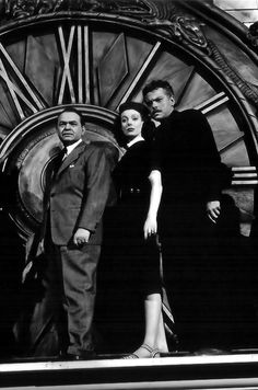 """Edward G. Robinson, Loretta Young and Orson Welles publicity still for """"The Stranger"""""""
