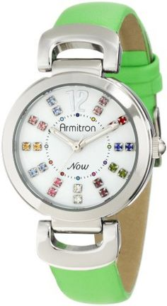 Armitron Women's 75/5017WTSVGN Colorful Dress Silver-Tone Green Leather Strap Color Swarovski Crystal Watch Armitron. $33.41. White glossy dial with silver-tone arabic 12 and two assorted color, genuine swarovski crystals at all other hour markers; a total of 22 crystals on dial. Round polished silver-tone case. Double hinged lugs connecting a green, genuine leather strap with stainless steel buckle. Water-resistant up to 165 ft.. Luminous filled hour and minute h...