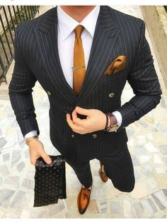 Black And Gold Mens Outfit Picture mens black double breasted pinstripe suit with gold tie and Black And Gold Mens Outfit. Here is Black And Gold Mens Outfit Picture for you. Black And Gold Mens Outfit sorry limited sizesthis color pallini . Mens Fashion Suits, Mens Suits, Men's Fashion, Daily Fashion, Fashion Quotes, Fashion Vintage, Fashion Photo, Vintage Men, Latest Fashion