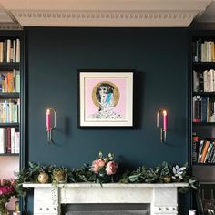 painting living rooms This gorgeous eclectic and glamorous living room has a navy blue and pink color scheme with walls painted in Farrow & Ball Hague Blue. Gorgeous accents in li Navy Living Rooms, Dining Room Blue, Glam Living Room, Blue Rooms, Blue Bedroom, Living Room Paint, New Living Room, Living Room Interior, Home Interior Design