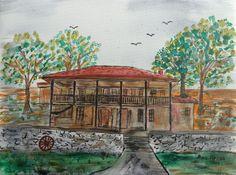 Болярска къща Рисувана на платно смесена техника размер 30 / 40 см.  Boliar house Painted on canvas mixed technic size 30/40 cm.  100% Hand Painted by Artist Ana Nyagul, heavy texture and rich color.