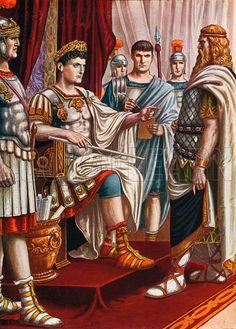 King Decebalus surrendering to the emperor Trajan.