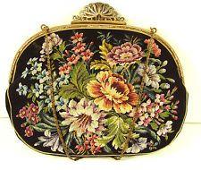 Vintage Antique JOLLES ORIGINAL Austrian Petit Point Embroidered Silk Purse Bag