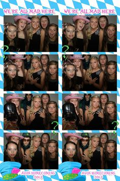 Alice in Wonderland Photobooth photo strip design done custom for homecoming theme. Homecoming Themes, High School Homecoming, Avon High School, Photo Booth, Alice In Wonderland, Entertaining, Movie Posters, Design, Photo Booths