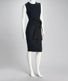 Take a look at this Navy & Black Bow Sheath Dress by Dressed for Success: Women's Apparel on #zulily today!