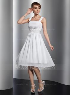 A-Line/Princess Square Neckline Knee-Length Chiffon Homecoming Dress With Ruffle Lace Beading (022014801)
