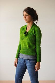 Framed Pullover by Hannah Fettig - simple cowl-necked sweater knit with Baah La Jolla fingering weight yarn