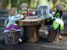 Miniature fairy furniture - table and chairs