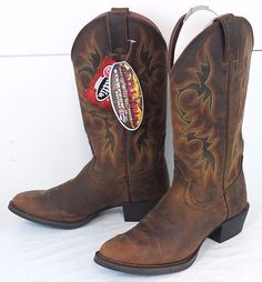 "Men's 8D JUSTIN 13"" Stampede Sorrel Apache Western Boots NWT/NIB MinorBlems 2551 #JustinBoots  #CowboyBoots #WesternBoots #Justin"