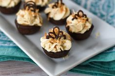 German Chocolate Tartlets - all the flavors of a German chocolate cake in a three-bite tartlet form! Toasted Pecans, Toasted Coconut, German Chocolate, Chocolate Cake, Tea Blog, Coconut Frosting, Mini Tart, Chocolate Sponge, Caramel Pecan