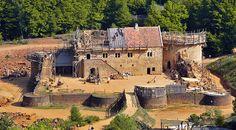 Gudelon Castle, France. A castle being built using medieval techniques.