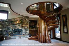 Spiral stair case around tree trunk... Neat!