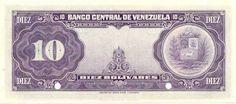 (Reverso). Billete del Banco Central de Venezuela. 10 Bolívares.Billete tipo specimen sin fecha