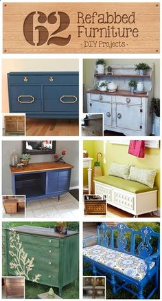 62 Refabbed Furniture Projects, curated by Recaptured Charm featured on Funky Junk Interiors