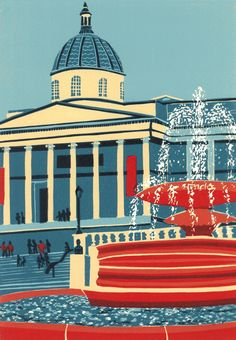 ARTFINDER: The National Gallery by Jennie Ing - A limited edition linocut print, made by hand in my studio. The edition is of 40 prints. Printed onto Fabriano Tiepolo paper, and signed, numbered a. London Landmarks, European Paintings, City Illustration, Urban Landscape, Landscape Art, London Photography, London Art, Artist Gallery, Artist Painting