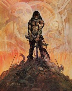 Frank Frazetta's famous cover illustration for 'Conan The Adventurer'