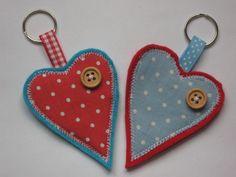 HEART KEY RING / BAG CHARM handmade in CATH KIDSTON fabric  felt, red  blue