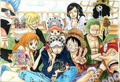 Heart Pirates and Straw hats pirate crew alliance - Trafalgar D. Water Law, Monkey D. Luffy, Tony Tony Chopper, Roronoa Zoro, Sanji, Brook, Usopp, Nami, Franky, Nico Robin One piece