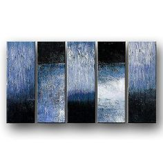 Olieverf schilderij 5 luik zwart wit