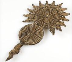 Gan African Bronze Pendant Amulet of Serpents, Burkina Faso