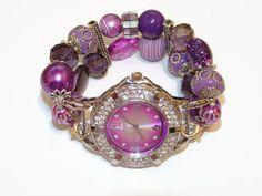 Purple Beaded Watch  Interchangeable Purple Watch  by BeadsnTime