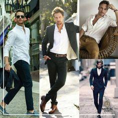 Aposte nas camisas brancas. Versáteis e práticas combinam com ambientes casuais, formais, com jeans, bermudas: Não tem erro ;) #CamisaBranca #ModaMasculina #RadicalChic #DicaRadical