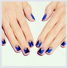 Dear ladies, today we have for you a modern and interesting ideas for Geometric Nail Designs You Can Try To Copy . Geometric Nail Designs is the art Creative Nail Designs, Creative Nails, Nail Art Designs, Nails Design, Creative Ideas, Blue Nails, My Nails, Red Nail, Prom Nails