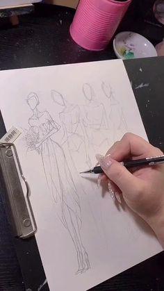 Fashion Design Sketchbook, Fashion Design Portfolio, Fashion Illustration Sketches, Fashion Design Drawings, Fashion Sketches, Fashion Drawing Tutorial, Fashion Figure Drawing, Music Notes Art, Hand Lettering Tutorial
