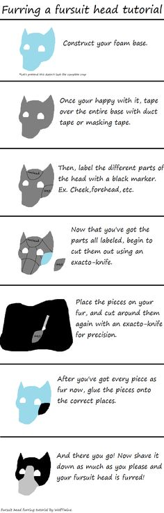 Furring a fursuit head - Simple Tutorial by WolfTwine.deviantart.com on @deviantART- This will be very useful when I start making my own partial fursuit.