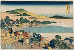 Katsushika Hokusai: Fukui Bridge in Echizen Province (Echizen Fukui no hashi), from the series Remarkable Views of Bridges in Various Provinces (Shokoku meikyô kiran) - Museum of Fine Arts